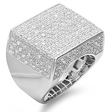 0 75 Ct Sterling Silver Fancy Design Round Diamond Men S Flashy Hip Hop Iced Pinky Ring Fashion Rings Silver Mens Silver Rings Mens Emerald Rings