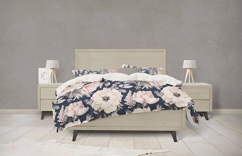 Navy And Pink Watercolor Floral Bedding Bed Linens Luxury Full