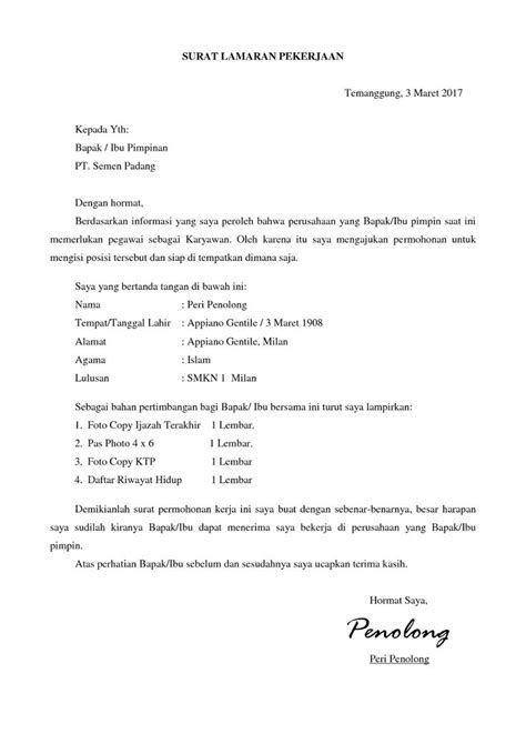 Contoh Surat Lamaran Pekerjaan Masuk Pabrik Cv Kreatif Surat Pimpinan