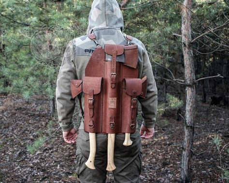 Leather Backpack for Three Axes, Closed Case for Axe, Handmade Camping Survival, Survival Gear, Survival Prepping, Bug Out Gear, Leather Craft, Leather Kits, Handmade Leather, Cool Knives, Knife Sheath