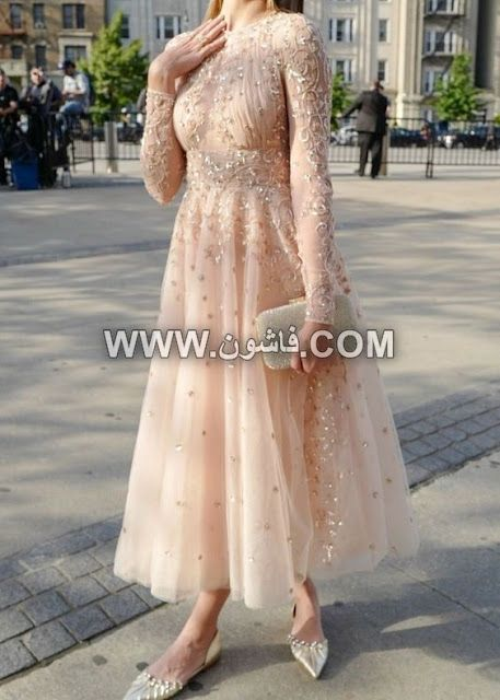 موديلات مختلفة من فساتين السواريه للمحجبات تصميمات عام 2019 Soiree Dress Prom Dresses With Sleeves Hijab Dress Party
