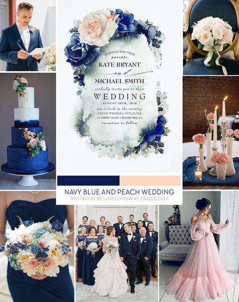 Navy Blue and Peach Wedding