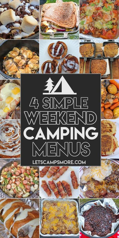 Wondering what to cook when you camp? Check out this Simple Weekend Camping Menu. It has meal plans for four weekend camping trips. Camping Meal Planning, Camping Food Make Ahead, Camping Menu, Weekend Camping Trip, Camping Lunches, Camping Breakfast, Tent Camping, Fall Camping Food, Camping Dinner Ideas
