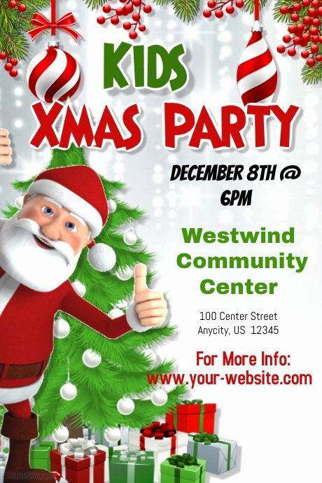 Christmas Party Flyer Template Fresh Kids Christmas Party Template Kids Christmas Party Party Flyer Christmas Party