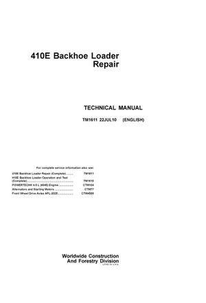 PDF DOWNLOAD JOHN DEERE 410E BACKHOE LOADER REPAIR TECHNICAL