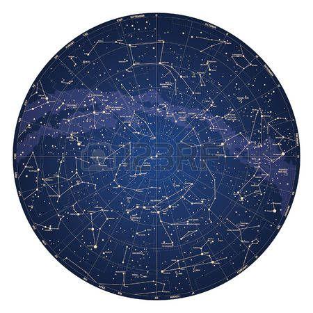 Mapa Estelar Hemisferio Norte.Cielo Detallado Mapa De Alta Hemisferio Norte Con Nombres De