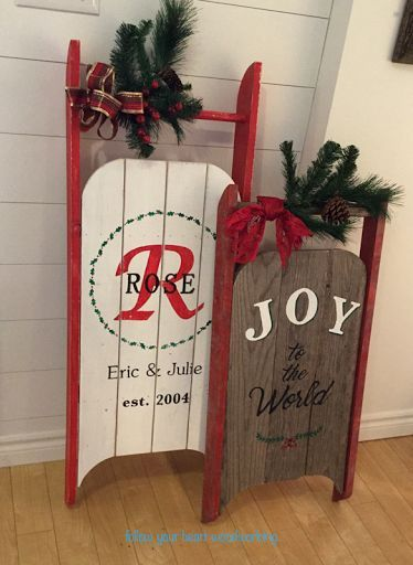 DIY vintage sleigh Christmas signs, by Your Heart Woodworking Woodworking Business Ideas, Woodworking Shows, Popular Woodworking, Fine Woodworking, Woodworking Machinery, Woodworking Articles, Youtube Woodworking, Woodworking Workbench, Woodworking Quotes