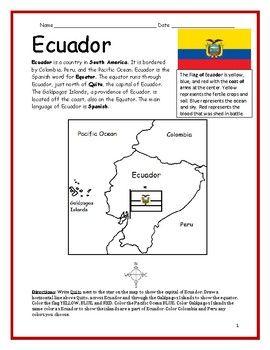 Ecuador Printable Handout With Map And Flag Ecuador Map Map