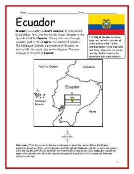 Ecuador Printable Handout With Map And Flag Ecuador Map Map