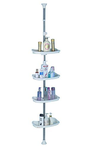 Baoyouni Bathroom Tension Pole Corner Shower Caddy Telescopic Shower Storage Rack Organizer 4 Tier A Corner Shower Caddy Shower Storage Bathroom Corner Storage