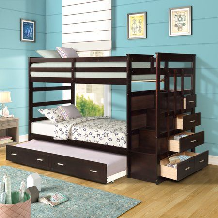Designs Twin Over Wood Bunk Bed, Bunk Bed With Trundle And Storage Drawers