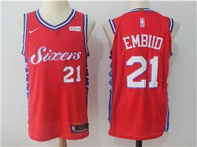brand new 6f33b 9d6c0 Philadelphia 76ers #21 Joel Embiid Red Authentic Jersey ...
