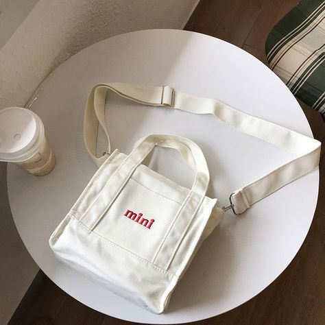 Embroidery Mini Canvas Shoulder Bag Feature: Embroidery mini lettersWide shoulder strap design Small crossbody purse has one main pockets,perfect for. My Bags, Purses And Bags, Mein Land, Sacs Design, Small Crossbody Purse, Mini Canvas, Canvas Shoulder Bag, Cute Bags, Mode Inspiration