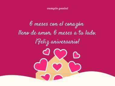 6 Meses Con El Corazón Lleno De Amor 6 Meses A Tu Lado Feliz Aniversario Https Www Cump Feliz 6 Meses Amor Meses De Novios Frases Felices Meses Amor