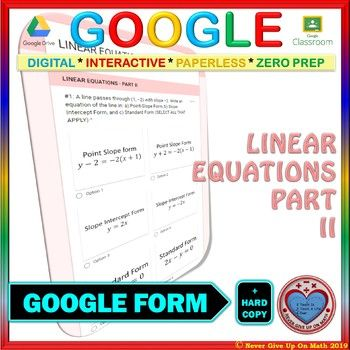 Use with Google Forms: Linear Equations Point Slope