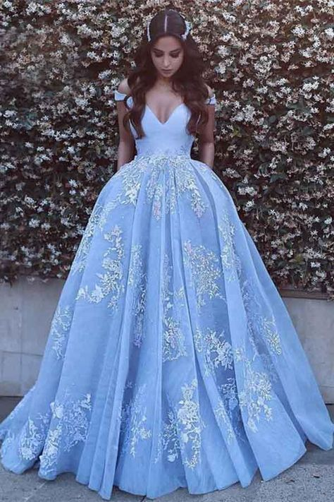 Light Blue Tulle Ball Gown Prom Dresses, Lace Appliques Off Shoulder Prom Gowns, Ball Gowns, Blue Wedding Dress, Light Sky Blue Tulle Prom Dress With Appliques Princess Prom Dresses, V Neck Prom Dresses, Prom Dresses 2018, Long Prom Gowns, Ball Gowns Prom, Cheap Prom Dresses, Formal Gowns, Cinderella Prom Dresses, Sleeveless Dresses