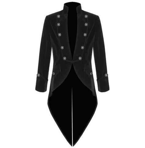 Rebelsmarket mens handmade black velvet trim goth steampunk wedding coat coats 3