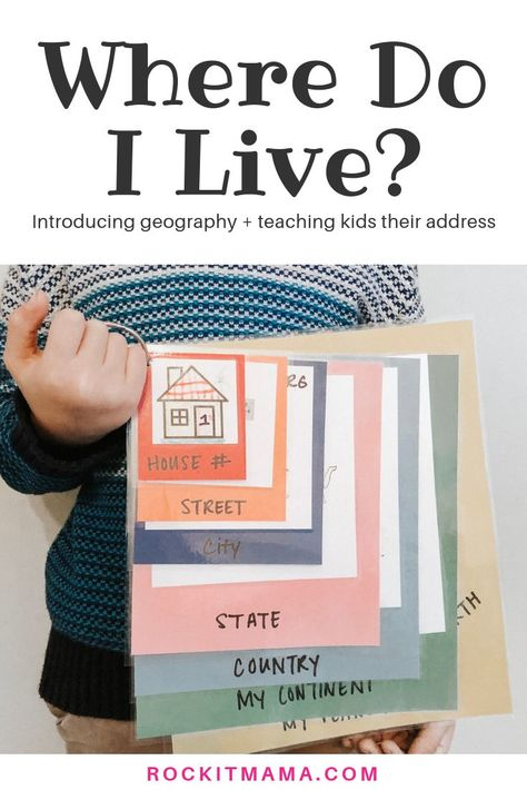 Teaching ideas 753790056370510173 - Where Do I Live? Kid Activity – Introducing Geography and Teaching Kids Their Address – Rock It Mama Where Do I Live? Kid Activity – Introducing Geography and Teaching Kids Their Address – Rock It Mama Source by Toddler Learning Activities, Fun Learning, Preschool Activities, Teaching Kids, Teaching Colors, Teaching Feeling, Summer School Activities, Activities For 5 Year Olds, Life Skills Activities