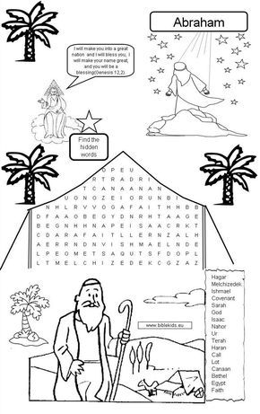 Abraham Word Search Puzzle Bible Activities For Kids Sunday