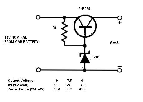 Simple 12v To 9 7 5 Or 6v Dc Converter Schematic This Dc To Dc Converter Circuit Enables Power Supply Circuit Electronic Circuit Projects Electronics Circuit
