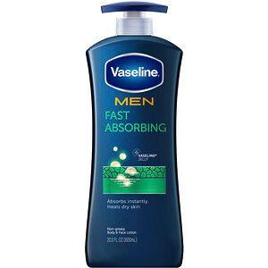 Vaseline للرجال لوشن سريع الامتصاص للجسم والوجه 20 3 أونصة سائلة 600 مل Iherb Face Lotion Vaseline Healing Dry Skin