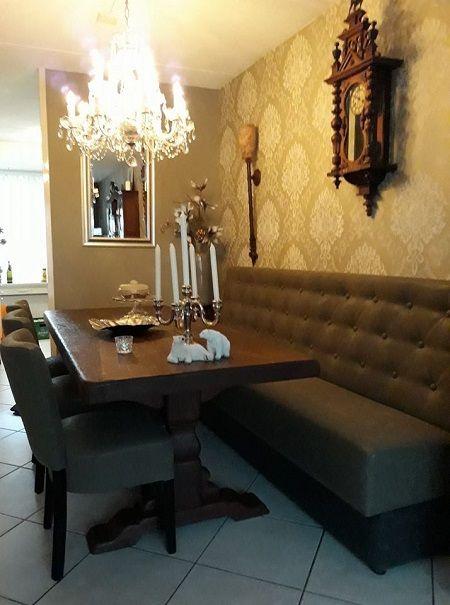 Klooster tafel en wand eetbank | Eetkamer ideeën | Pinterest