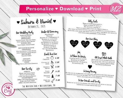 Custom DIY Printable Emoji Story Infographic Wedding Program