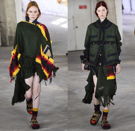 Sacai by Chitose Abe 2019 Resort Cruise Pre-Spring Womens Runway Catwalk Looks Collection Paris Fashion Week Homme France - Native American Tribal Geometric Dr. Woo Tattoos Pendleton Deconstructed Hybrid Combo Plaid Check Fringes Pinstripe Asymmetrical Dots Extra Panel Sheer Tweed Denim Jeans Bomber Jacket Blazer Shorts Coat Parka Knit Sweater Cardigan Capelet Onesie Jumpsuit Sleepwear Pajamas Accordion Pleats Leggings Mullet High-Low Skirt Maxi Dress Nike High Tops Boots Sandals Socks