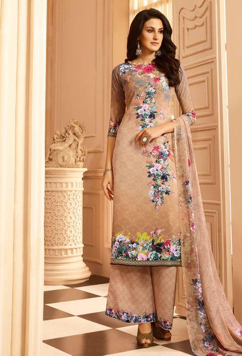 6bb2ea6fa4 Beige Crepe Printed Pakistani Suit #printedsalwarkameez #onlinesalwarkameez  #salwarkameezonline #dress #onlineindiandress #sale#nikvik #freeshipping # usa ...