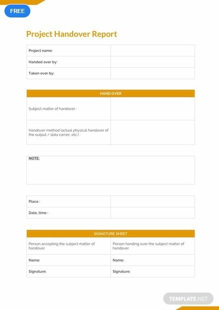 Free Final Project Handover Report Downloadable Templates Word