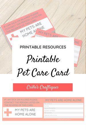 Printable Pet Care Card Pet Emergency Card Pet Emergency Card Pet Care Pet Emergency