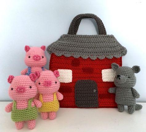 Crochet Amigurumi Design Amigurumi Crochet Three Little Pigs Playset Pattern Digital Crochet Game, Love Crochet, Crochet Gifts, Crochet For Kids, Knit Crochet, Crochet Amigurumi, Amigurumi Patterns, Crochet Dolls, Crochet Patterns