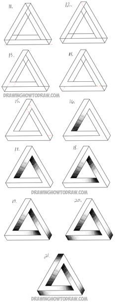 Learn How to Draw an Impossible Triangle - Simple Steps Drawing - 3d graph paper