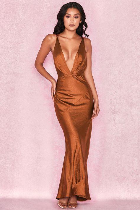 House of CB 'Carmen' Bronze Satin Draped Maxi Dress L 12