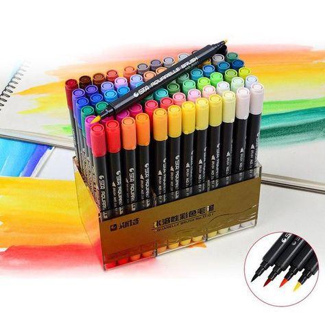 Sta Aquarelle Coloring Brush Pens Marker Kunst Typografie Und