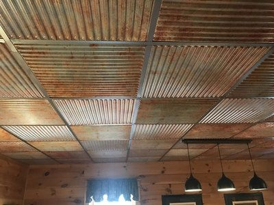 Ridged Metal Faux Tin Ceiling Tile 24 In X 24 In 261 Faux Tin Ceiling Tin Ceiling Ceiling Tiles Basement
