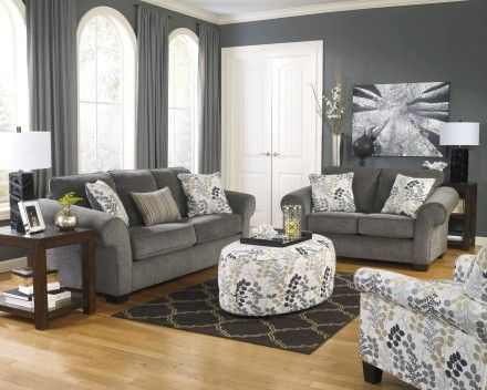 Makonnen Charcoal Living Room Set Living Room Furniture Living