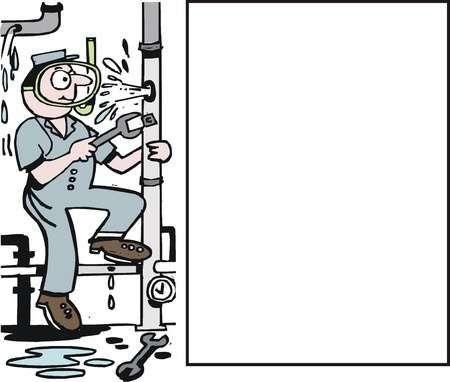 Vector De Dibujos Animados De Plomero Arreglando Tuberia Rota Plomero Dibujos Animados Dibujos