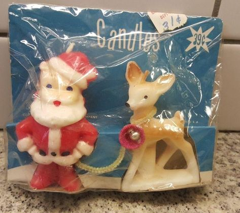 Gurley Christmas Candles new in sealed cellophane package - Santa and reindeer. Rare find from Christmas Past, Christmas Candles, Cozy Christmas, Primitive Christmas, Retro Christmas, Christmas Items, Vintage Holiday, Christmas Holidays, Christmas Decorations