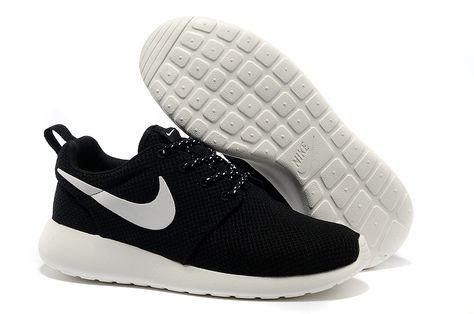 new style c9b39 e62f0 Nike Roshe Run Mesh Black White Logo Shoes