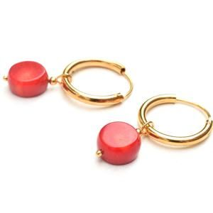Plum Branch Earrings Gold filled Hoop Red Berry Red Coral Vine Earrings Japanese Jewelry