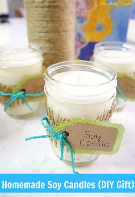 Homemade Soy Candles {DIY Gift}...the perfect holiday project! EverythingEtsy.com #Christmas #diy