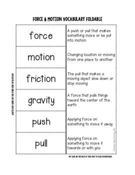Force Worksheet Push Or Pull Force And Motion Science