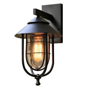 Home Decorators Collection 1 Light Sand Black Small Outdoor Wall Mount Sconce With Clear Outdoor Wall Mounted Lighting Porch Light Fixtures Wall Mounted Sconce