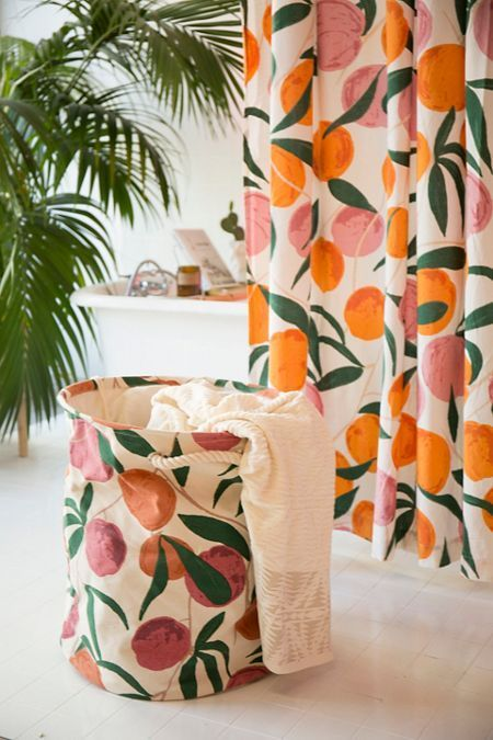 Allover Fruits Shower Curtain Urban Outfitters Curtains Peach