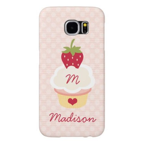 Monogrammed Strawberry Cupcake Samsung Galaxy S6 Case