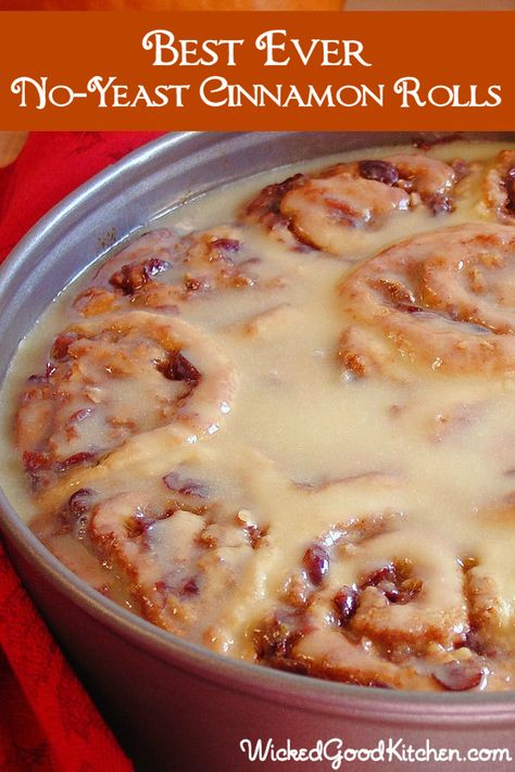 Best Ever No-Yeast Cinnamon Rolls ~ Made with a rich buttery biscuit dough with sour cream making them moist and irresistible like a cross between biscuits and sour cream coffeecake! Recipe includes options for overnight-style and gluten free. Perfect easy recipe for Easter brunch!