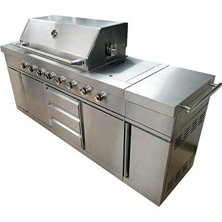 Western Pacific 7 Foot Bbq Gas Grill Barbecue 8 Burner Zones 96 000 Btu S Rotisserie Sink Cabinet Stainles Outdoor Bbq Kitchen Outdoor Bbq Kitchen Island Grill