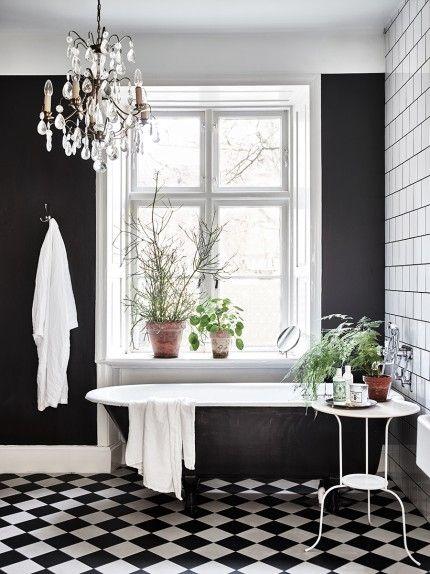 Die besten 25+ Snygga badrum med badkar Ideen auf Pinterest - badezimmer schwarz weiß