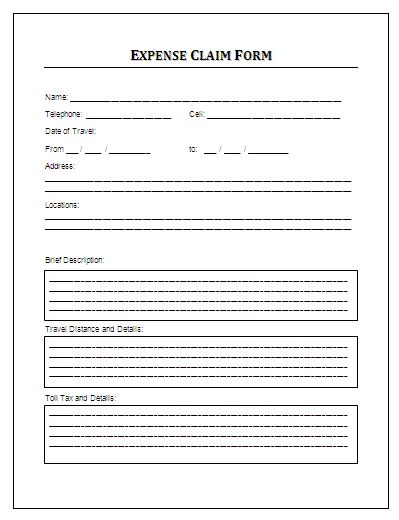 7 Expense Claim Form Templates Form Example Templates Word